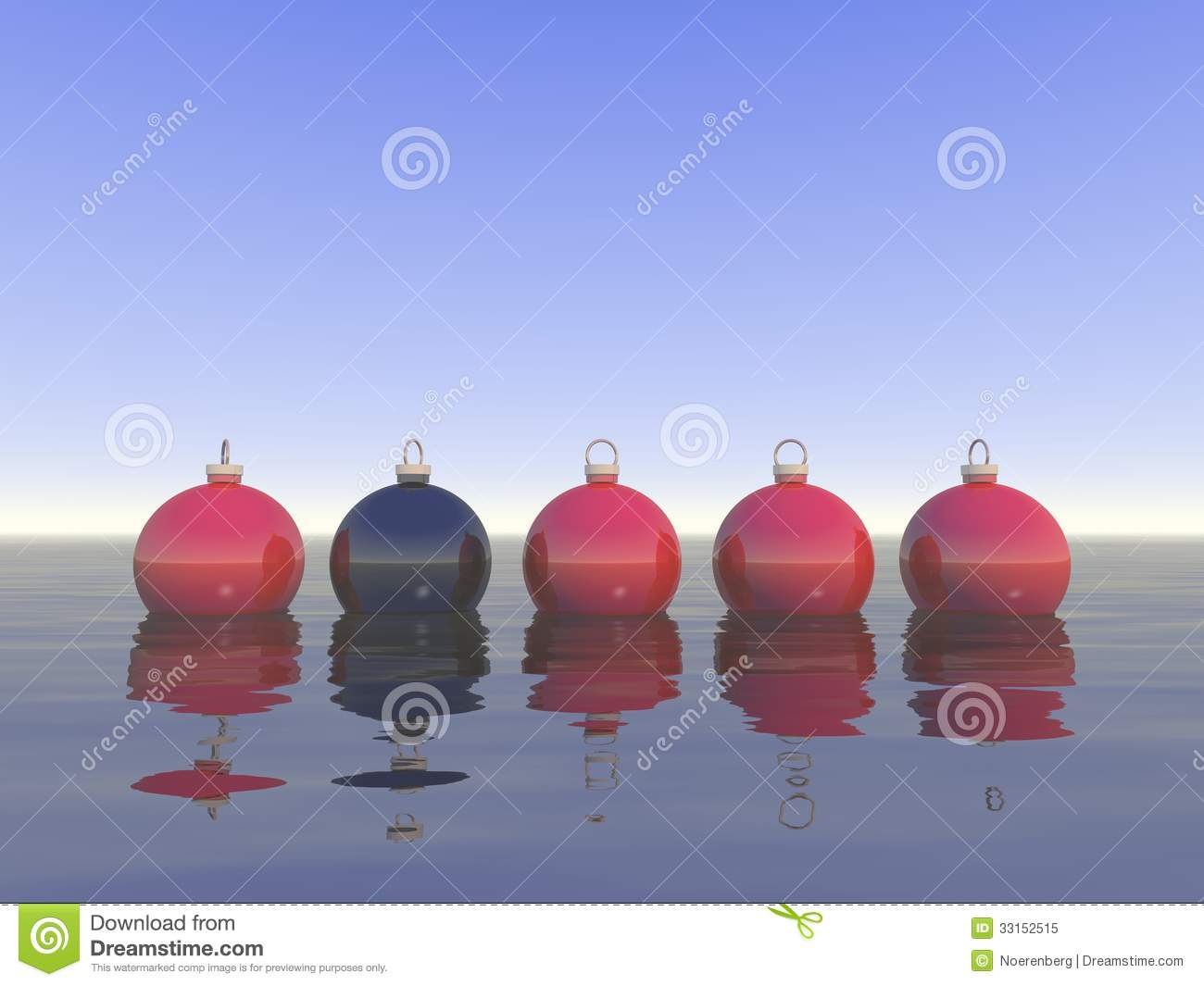 Line of christmas balls with one black ball royalty free