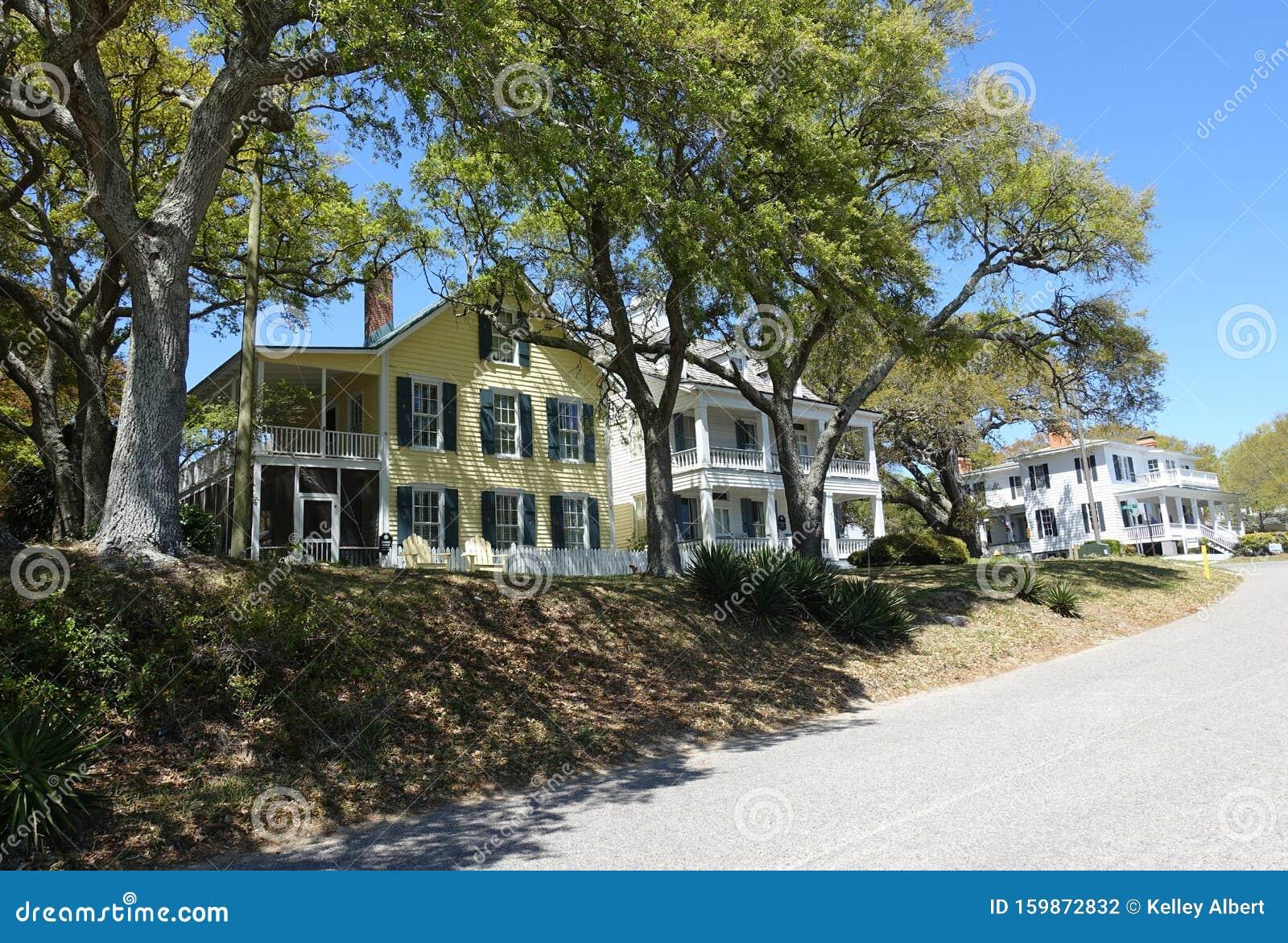 A line of Coastal Houses in Southport, North Carolina