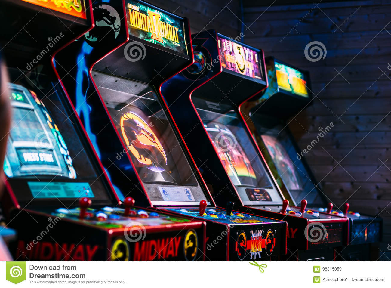 Line Of Cult Action Old Arcade Video Games From Late 90`s ...