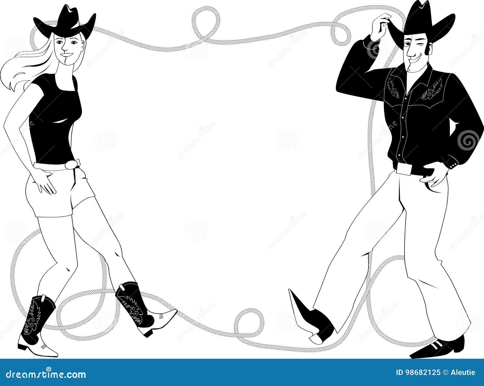 Line dance frame stock vector. Illustration of folk, cowgirl - 98682125