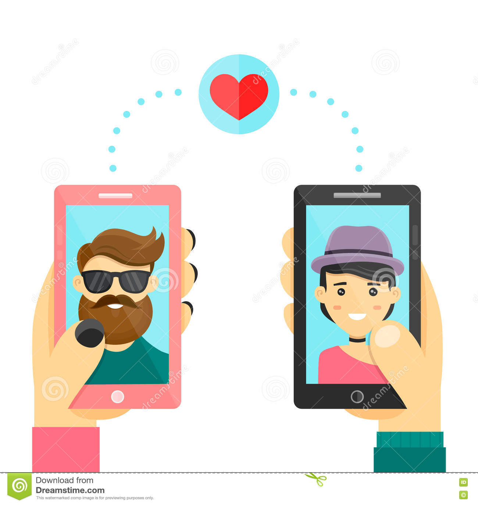 On-line-Datierungsliebes-APP-Konzept Männer und Frauen verwenden smarphone, um Beziehungen und Datum zu entwickeln Moderne flache