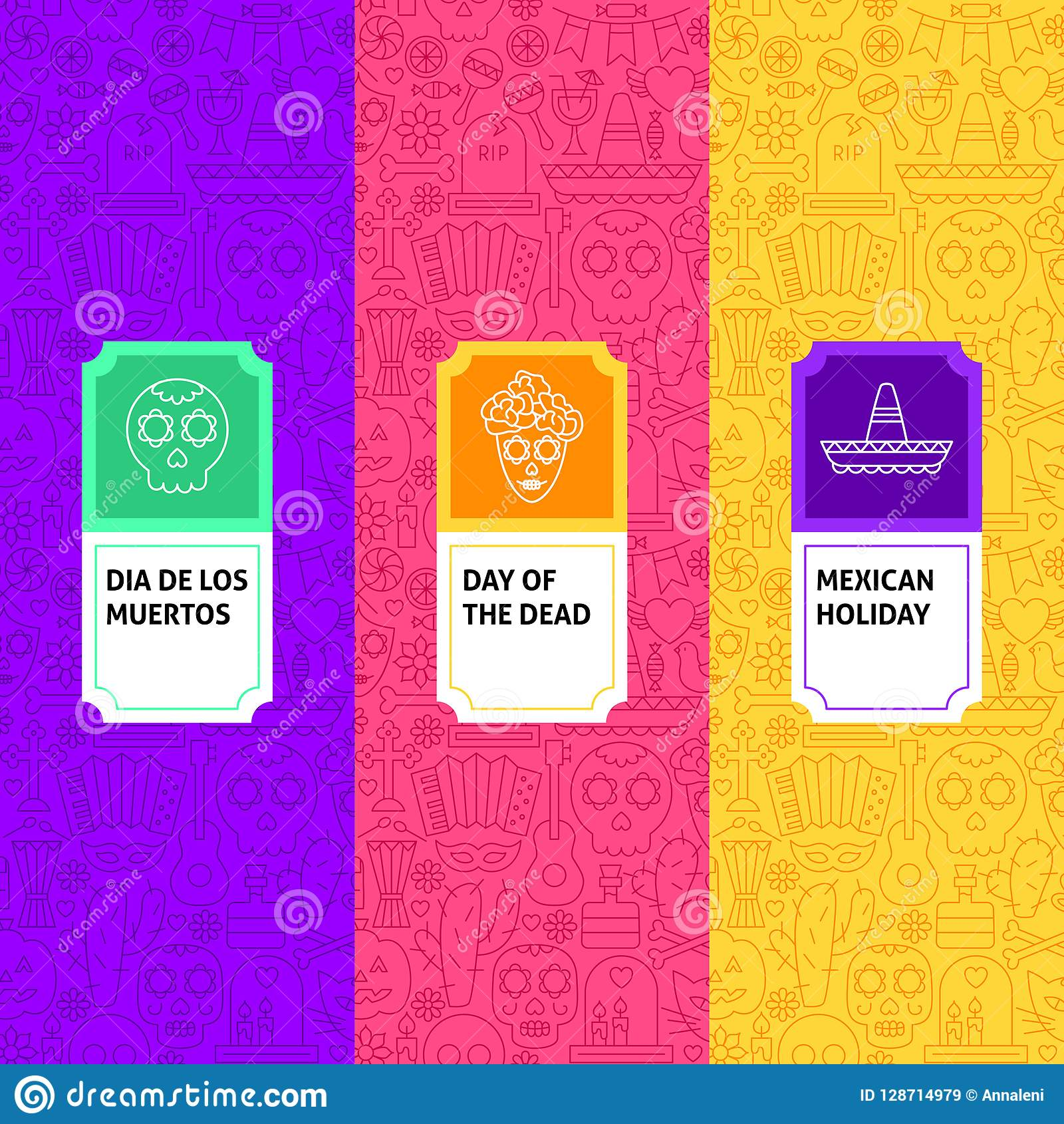 line day of the dead package labels stock vector illustration of