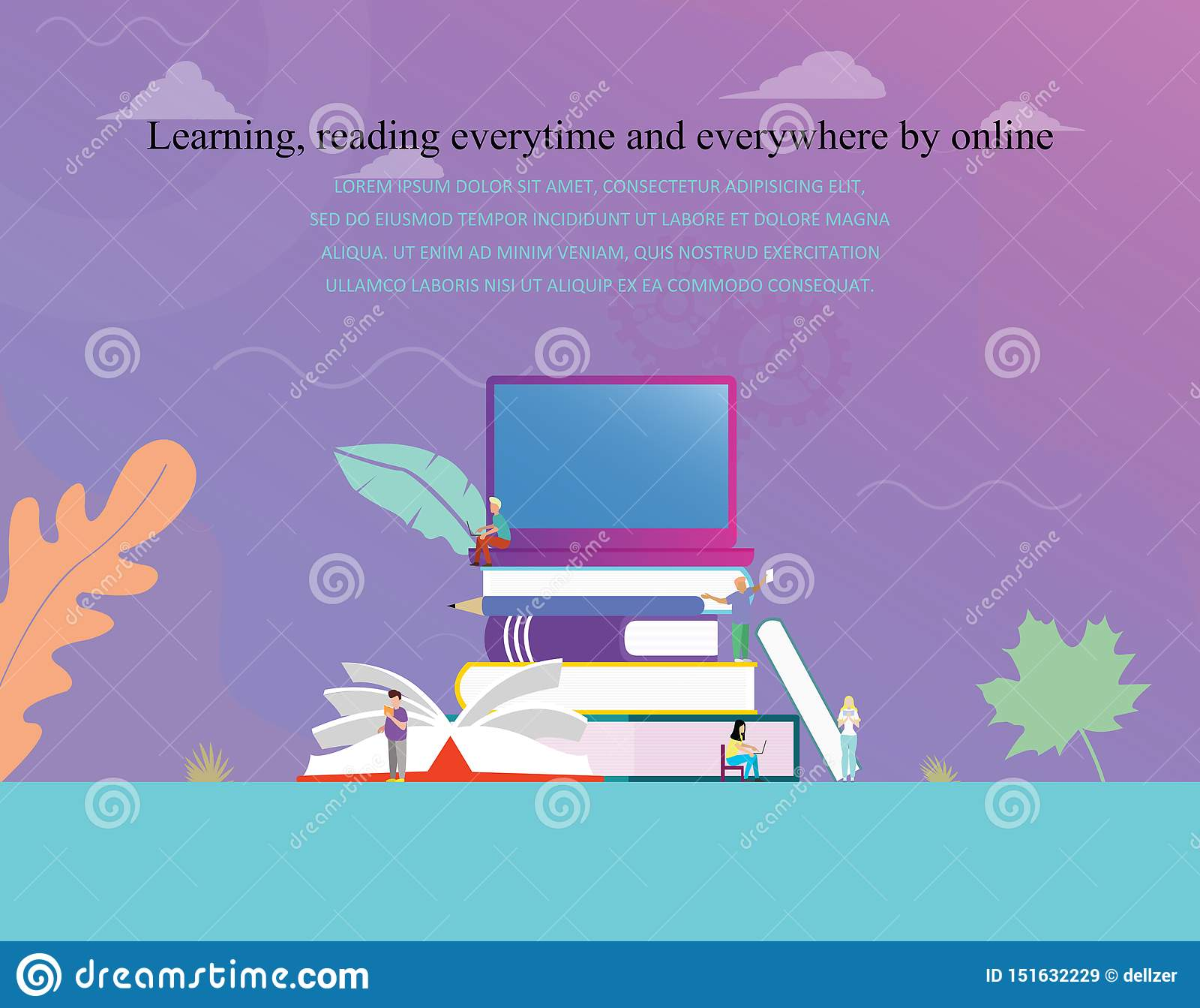 On-line-digitale Bibliothek des Ausbildungs- oder ebook Lesekonzeptvektorillustrations-Konzeptes, lernend