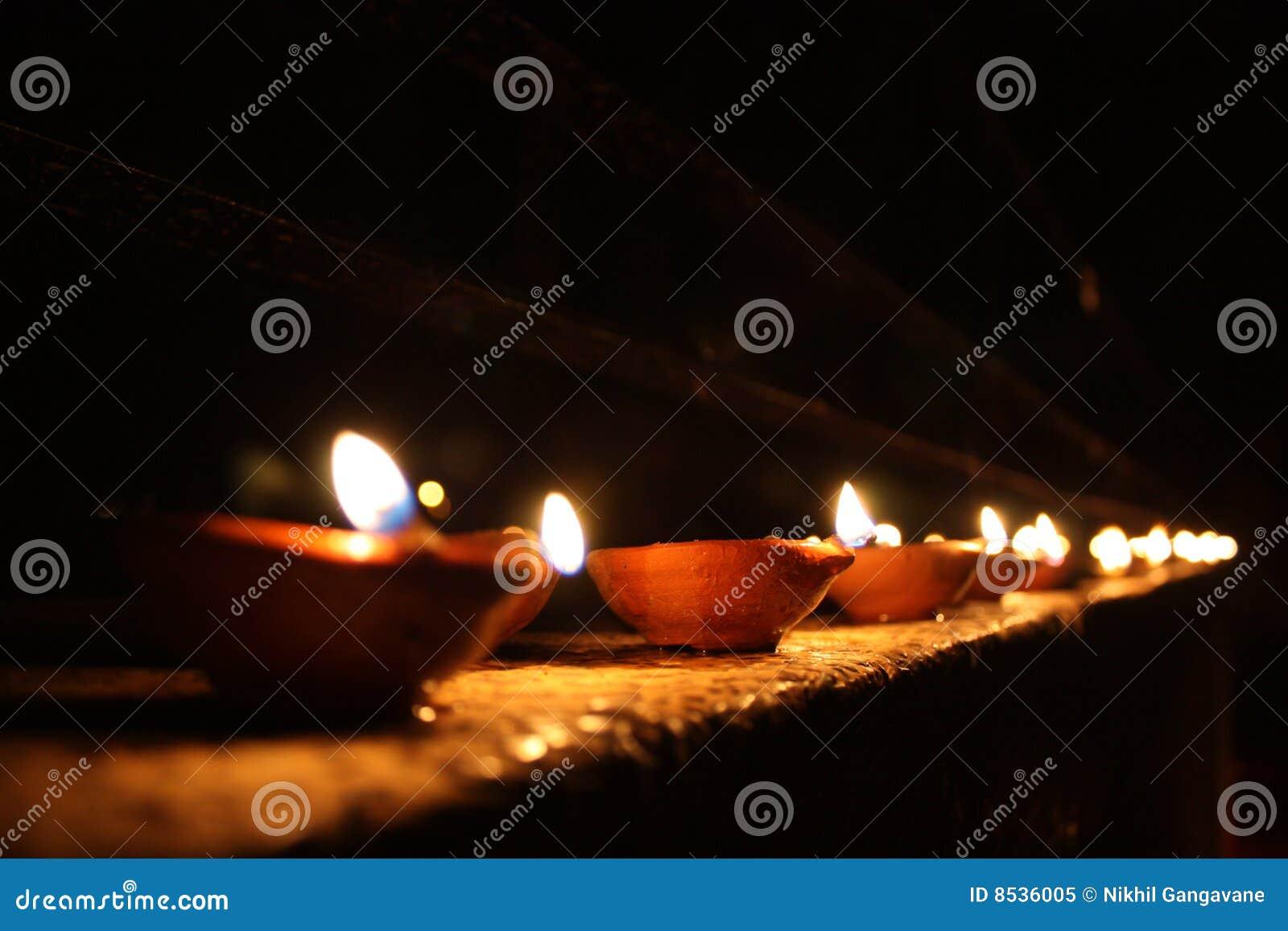 Line of Diwali Lamps