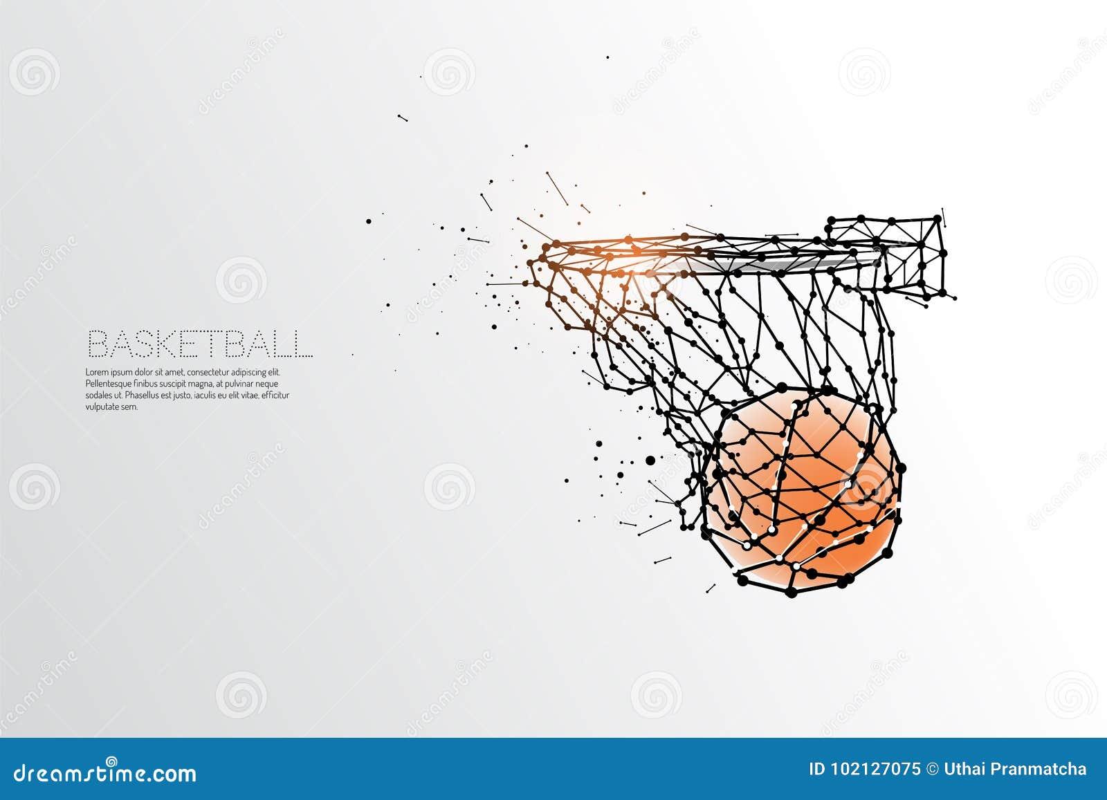 Line And Dot Of Basketball Shooting. Stock Vector