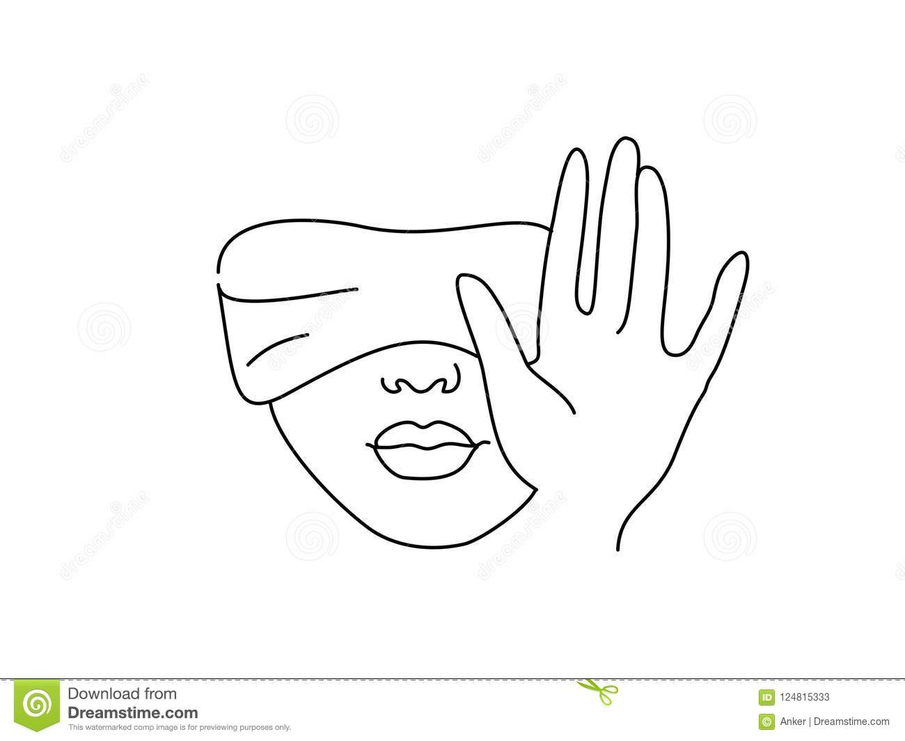 line drawing art blindfolded woman with hand stock vector