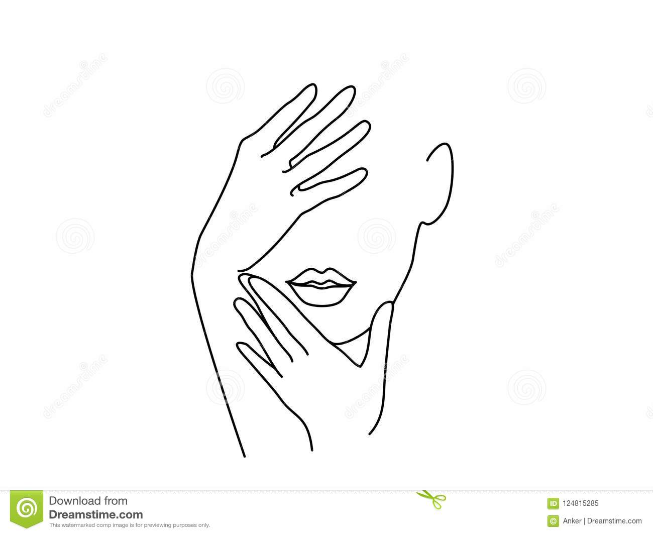 line drawing art woman face with hands stock vector illustration