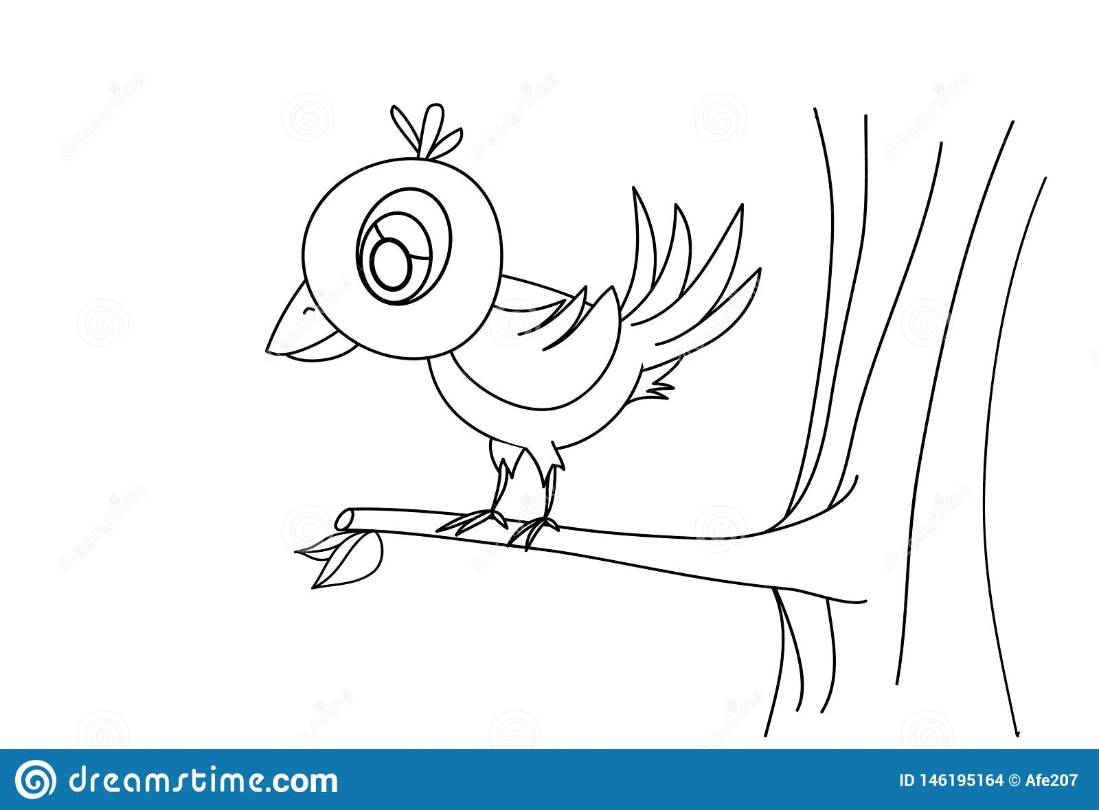 Line Drawing Bird On Tree For Kids Painting Art Study Stock Vector Illustration Of Graphic Beauty 146195164