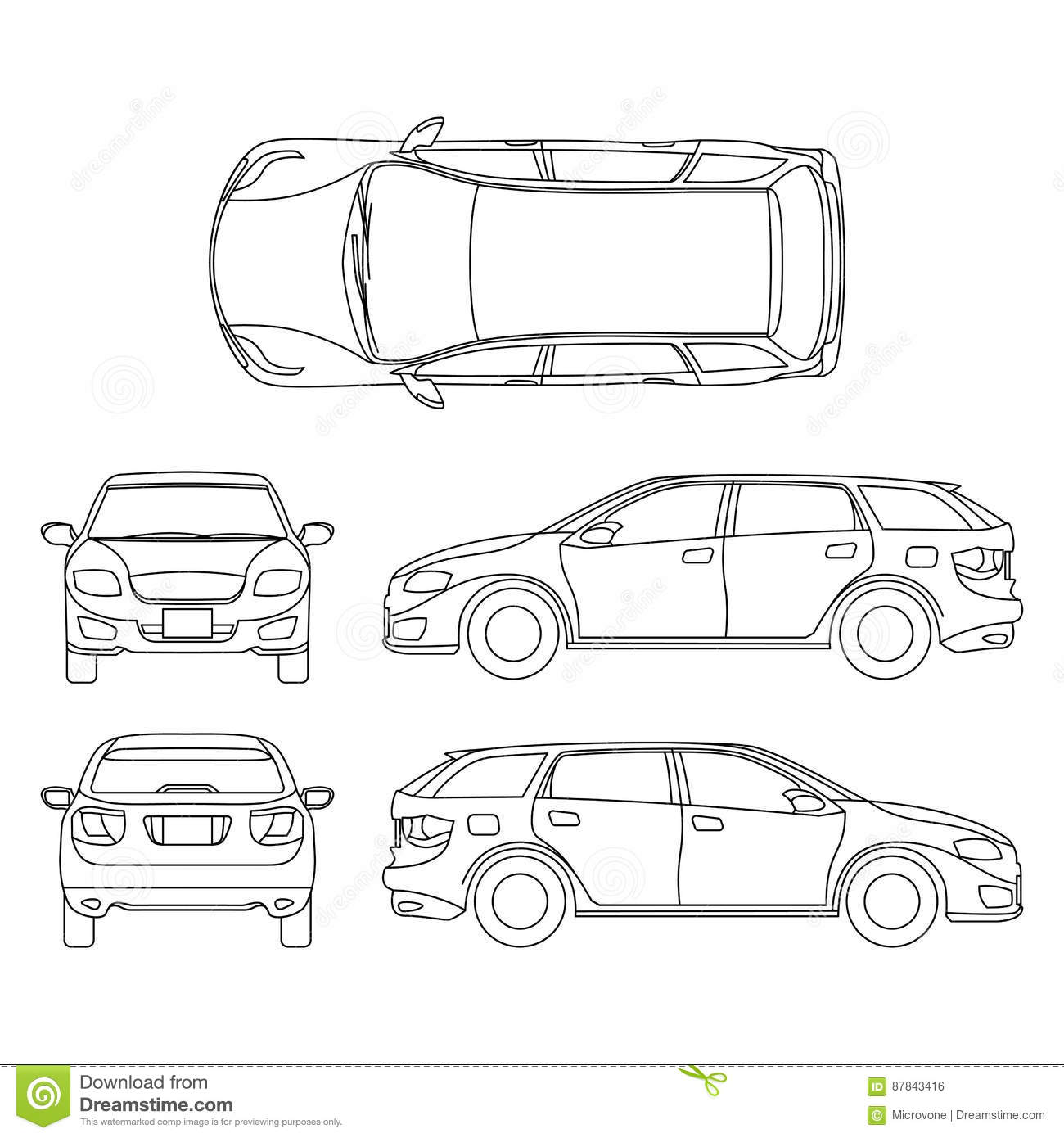 Line Drawing Of Car White Vehicle, Vector Computer Art Stock Vector ...
