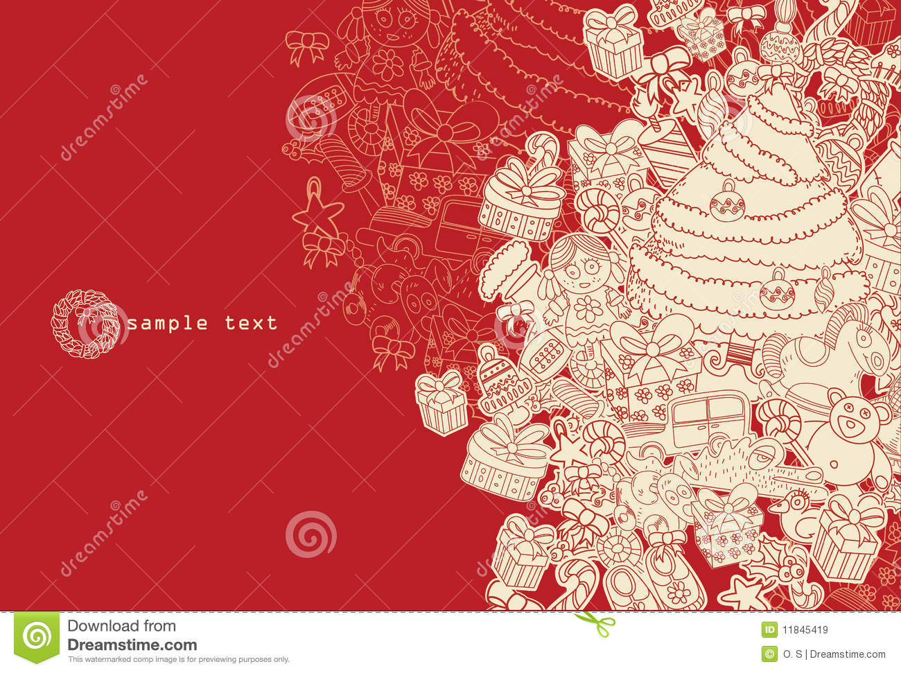 Line Drawing Xmas : Line drawing christmas theme red stock vector illustration of