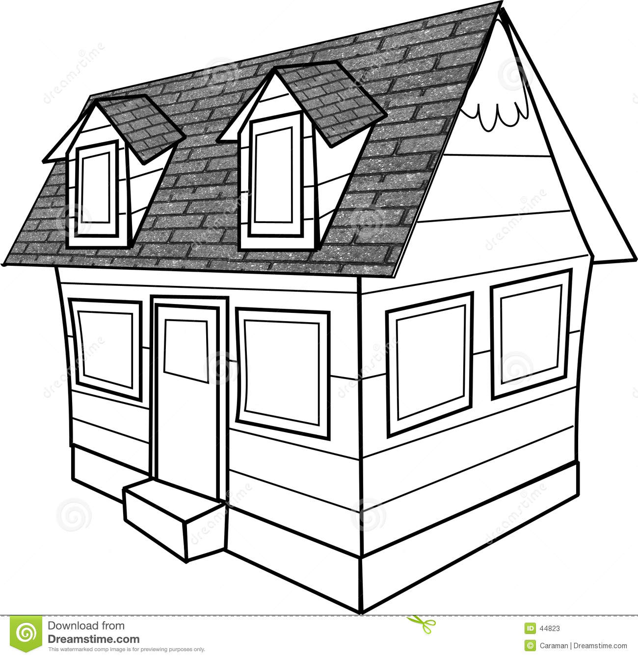 Line Drawing Of A Cottage