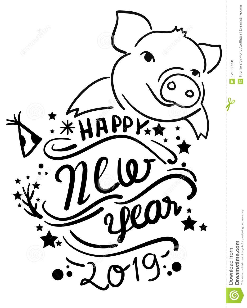 Line Art Year : Line drawing of a cute pig year linear style and