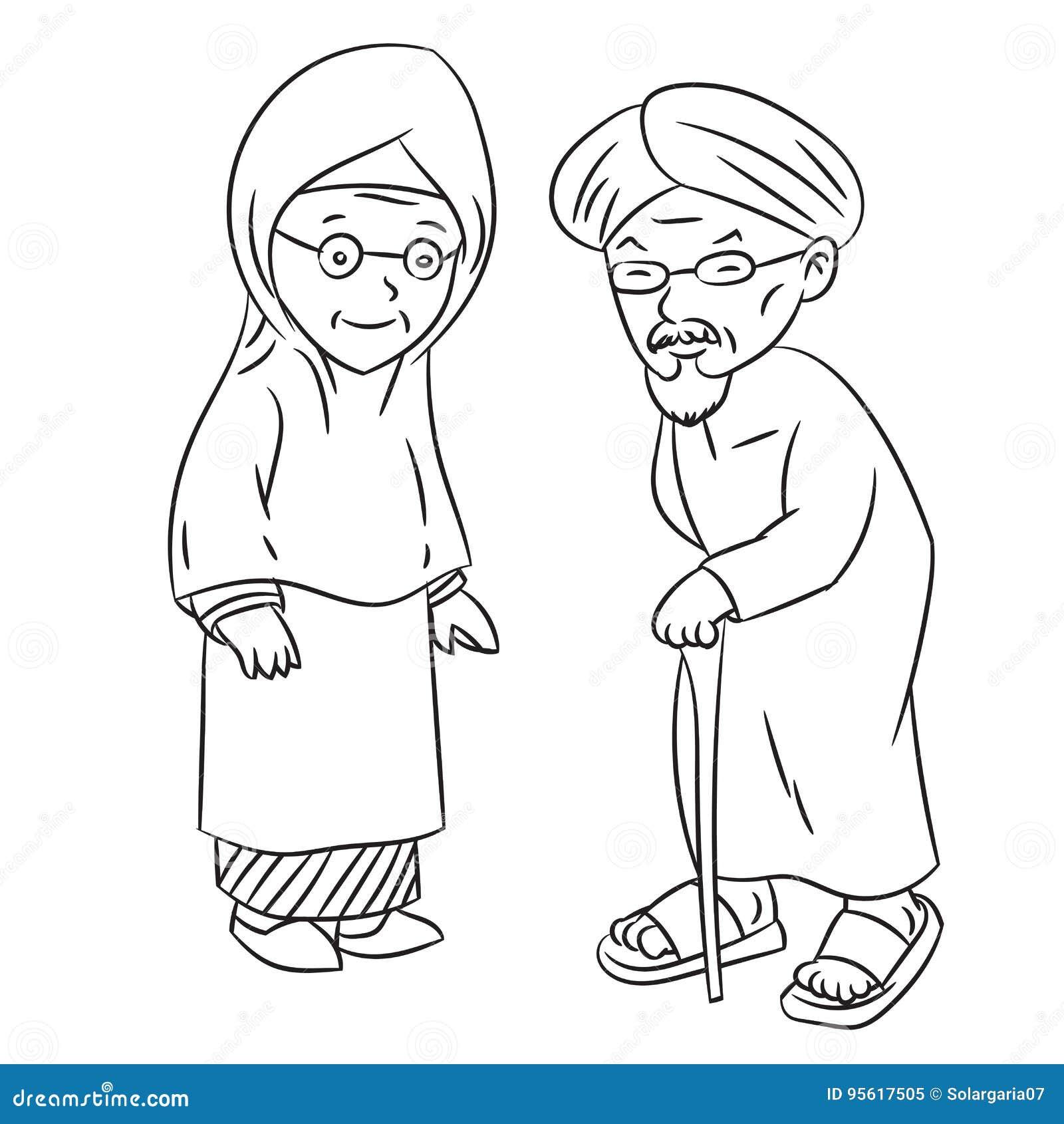 Line Drawing Of Elderly Malay Cartoon Character Vector