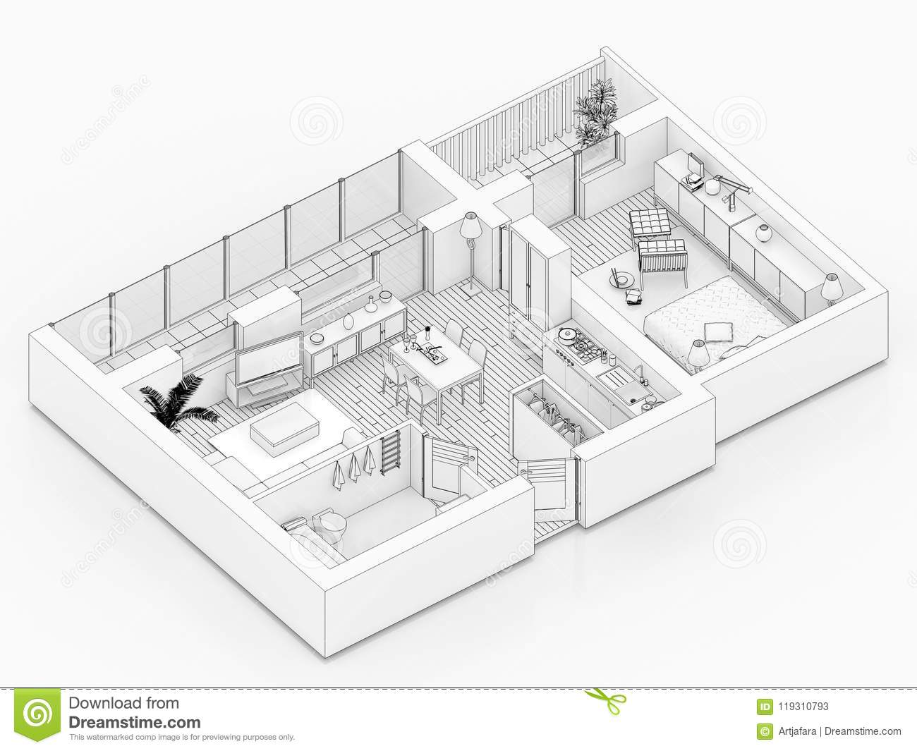 Line Drawing Floor Plan On A White Background Stock Illustration Illustration Of Elements Drawing 119310793