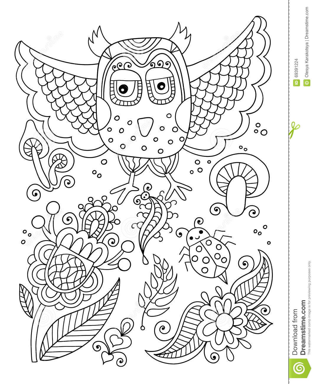 Line Drawing Of Forest Elements Owl Flowers Mushrooms