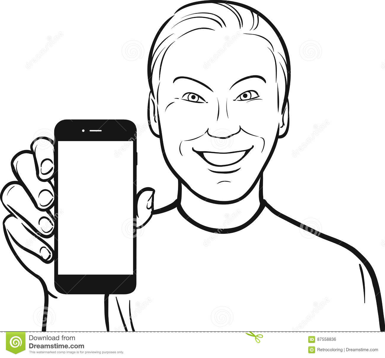 Line Drawing Game App : Line drawing of a korean man showing mobile app on