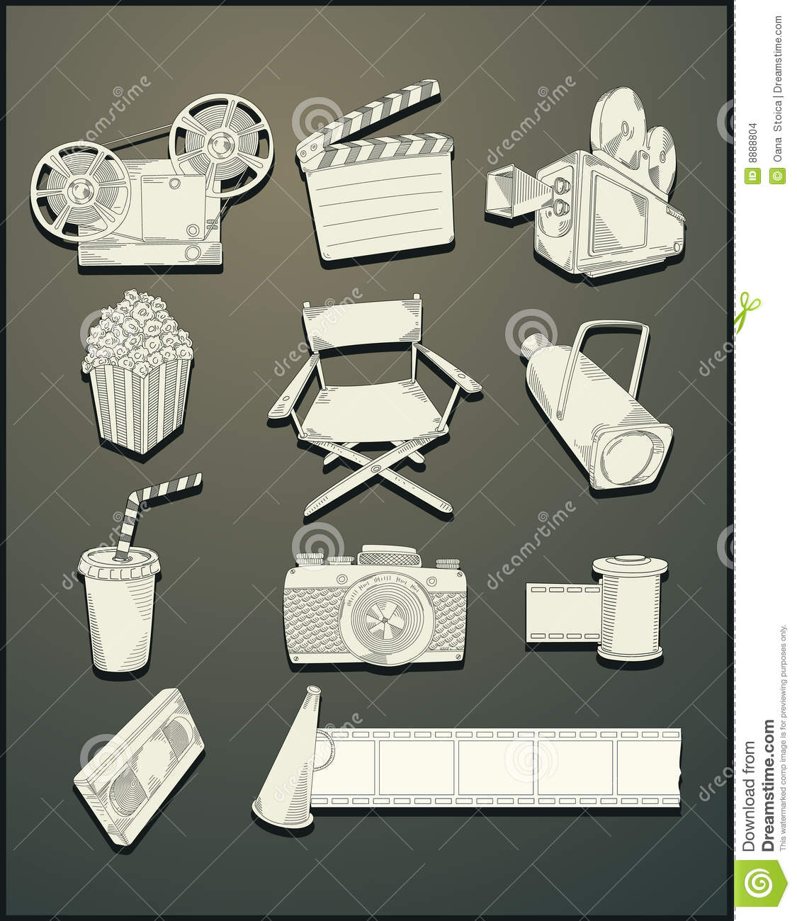 Vector Drawing Lines Excel : Line drawing movie objects vector stock image