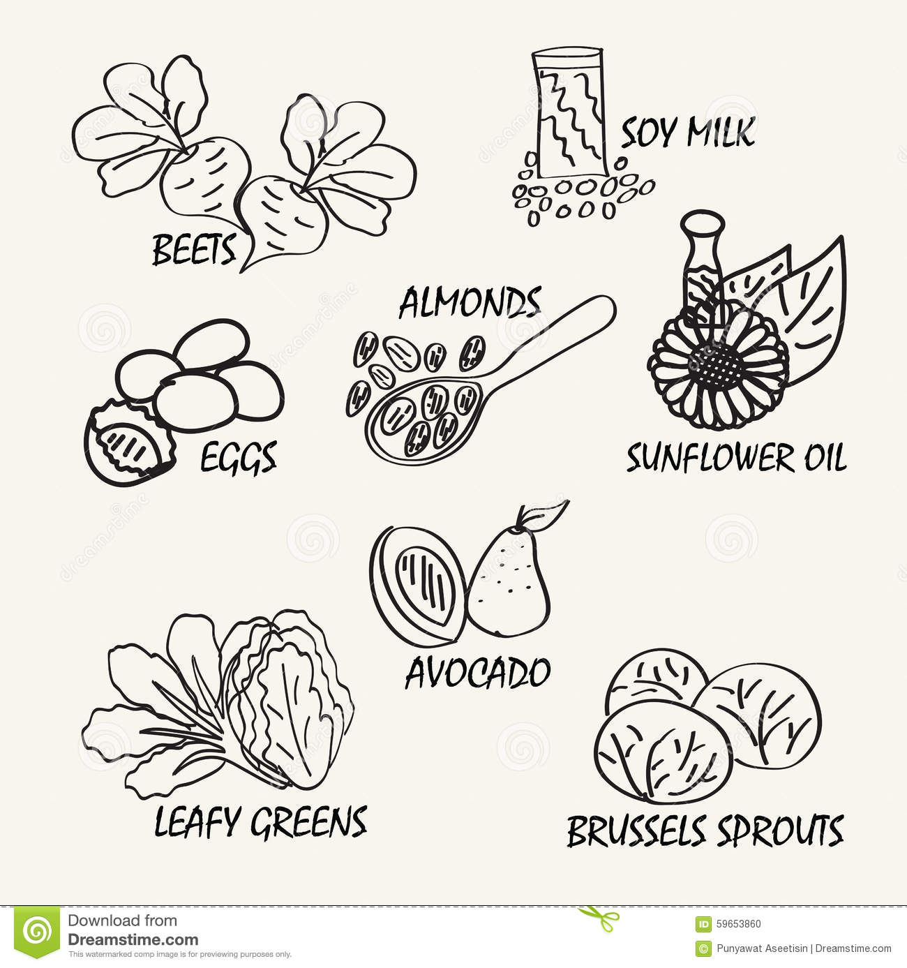 Line Drawing Food : Line drawing natural food vector hand