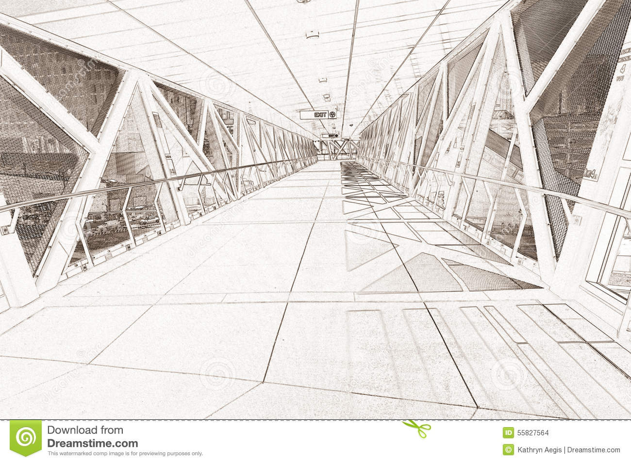 Line Art Render : Line drawing rendering of a walkway stock illustration