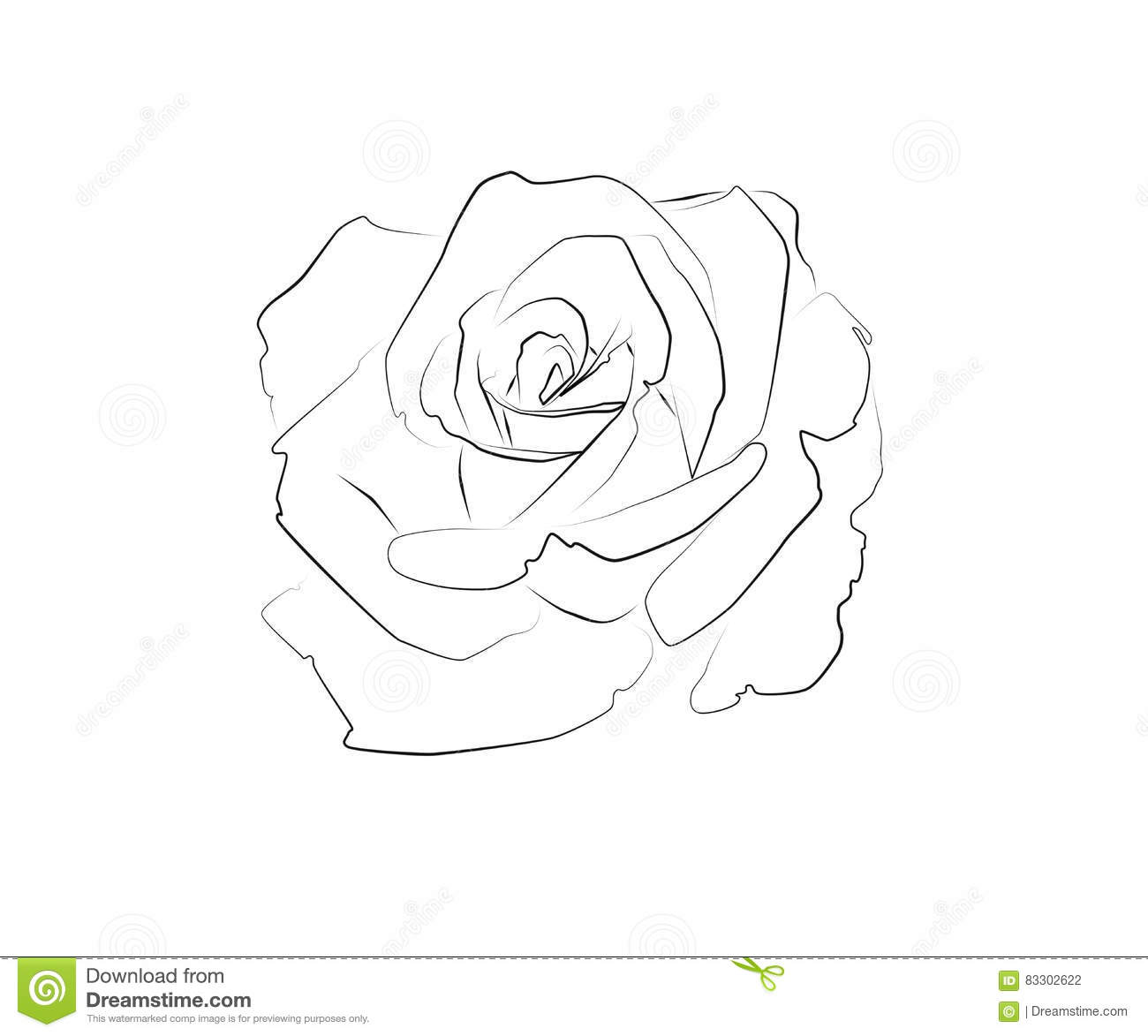 Line Art Rose Tattoo : Line drawing of a rose stock illustration