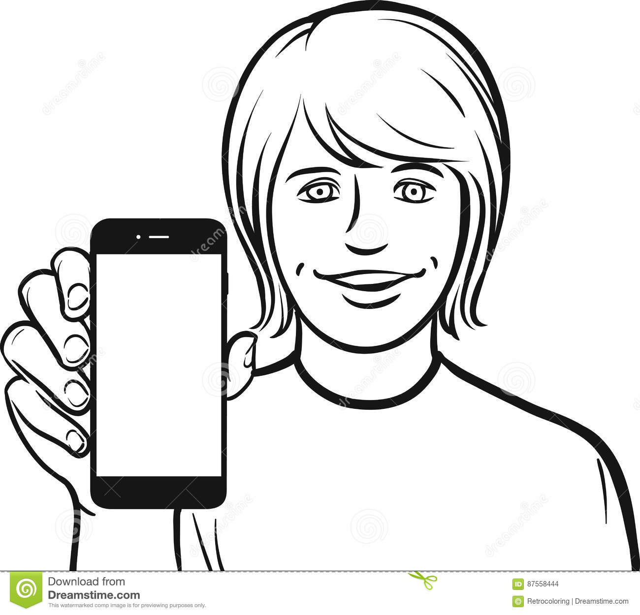 Black face app - Line Drawing Of A White Student Showing A Mobile App On A Smart