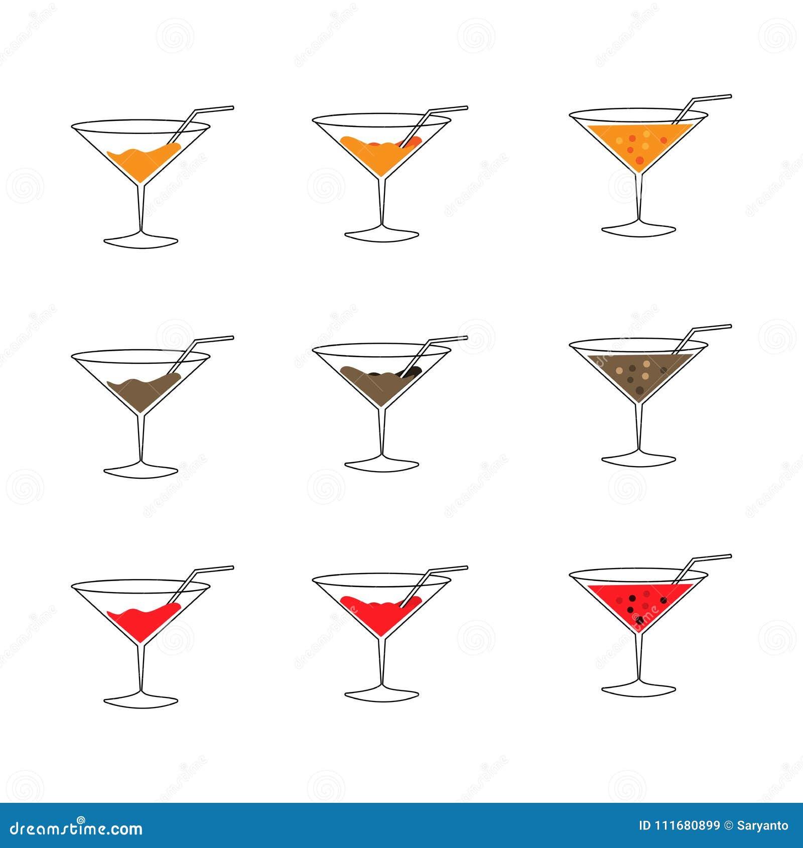 Line Drink glass icon set
