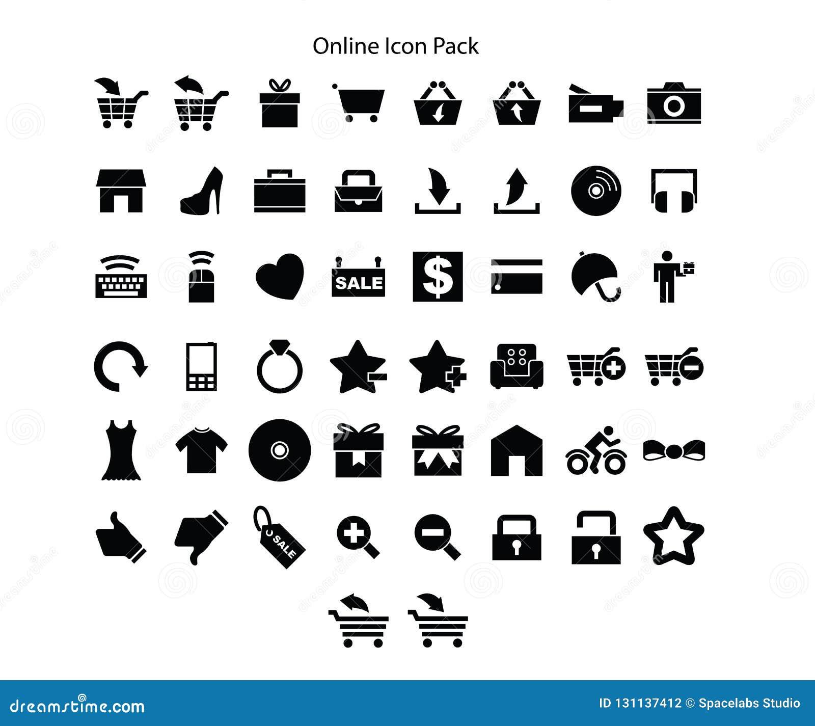 On-line-Einkaufs-Reihe Ikonen-Satzentwurf