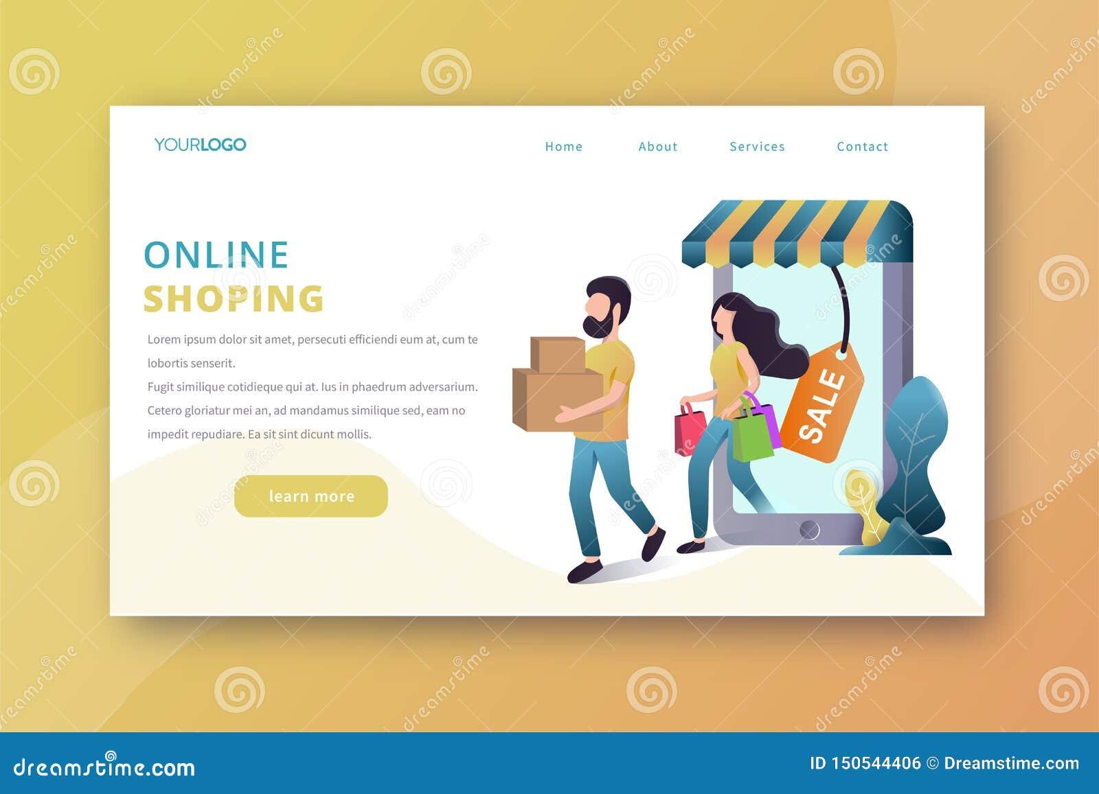 On-line-Einkaufslandungs-Seite