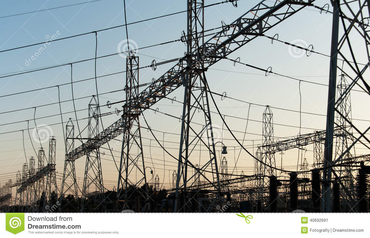 Electric Power Transmission : Line of electricity transmissions stock photo image