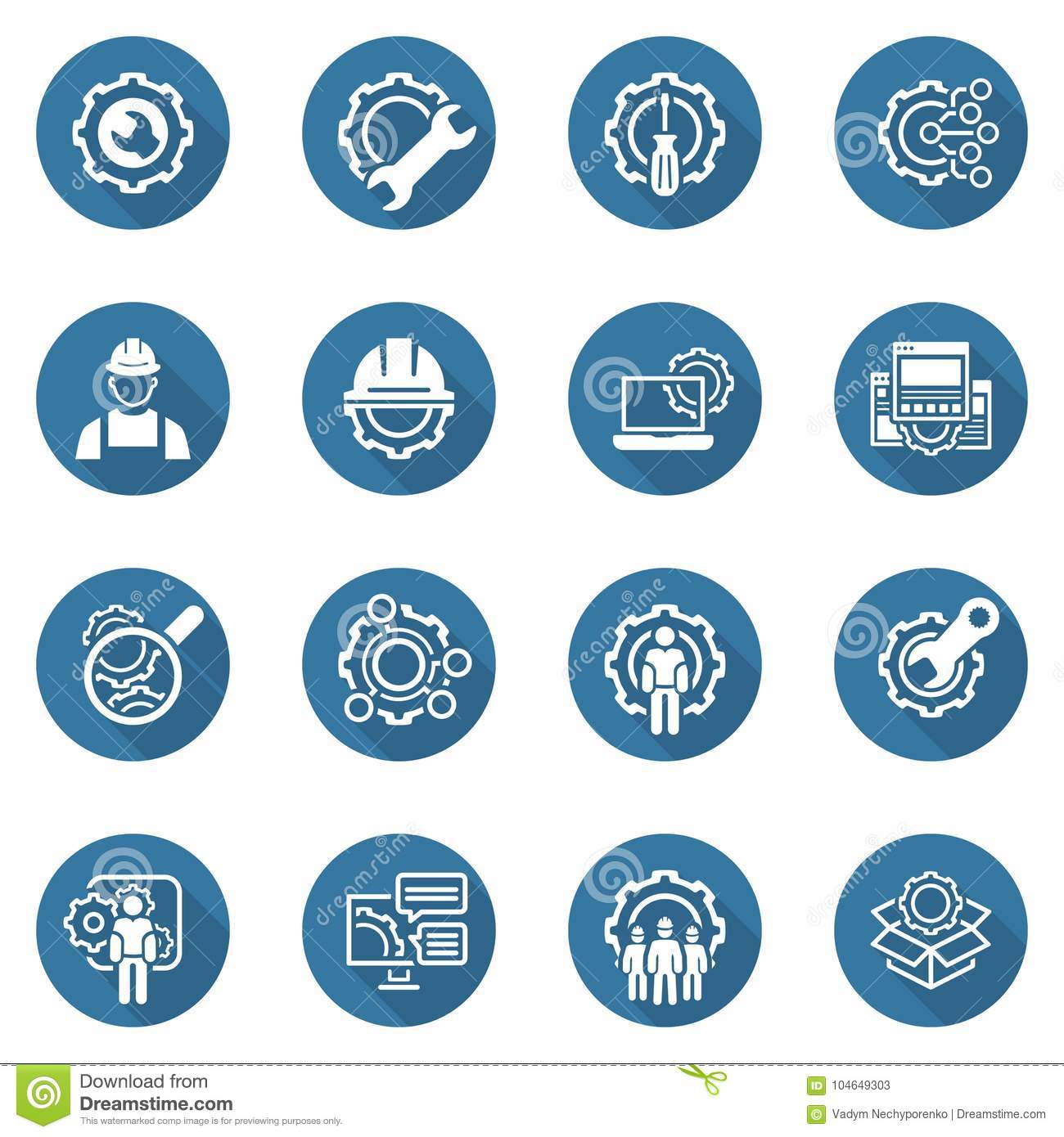 Line Engineering Icons Stock Vector Illustration Of Manufacturing