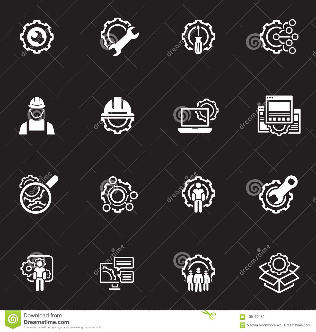 Line Engineering Icons Stock Vector Illustration Of Business