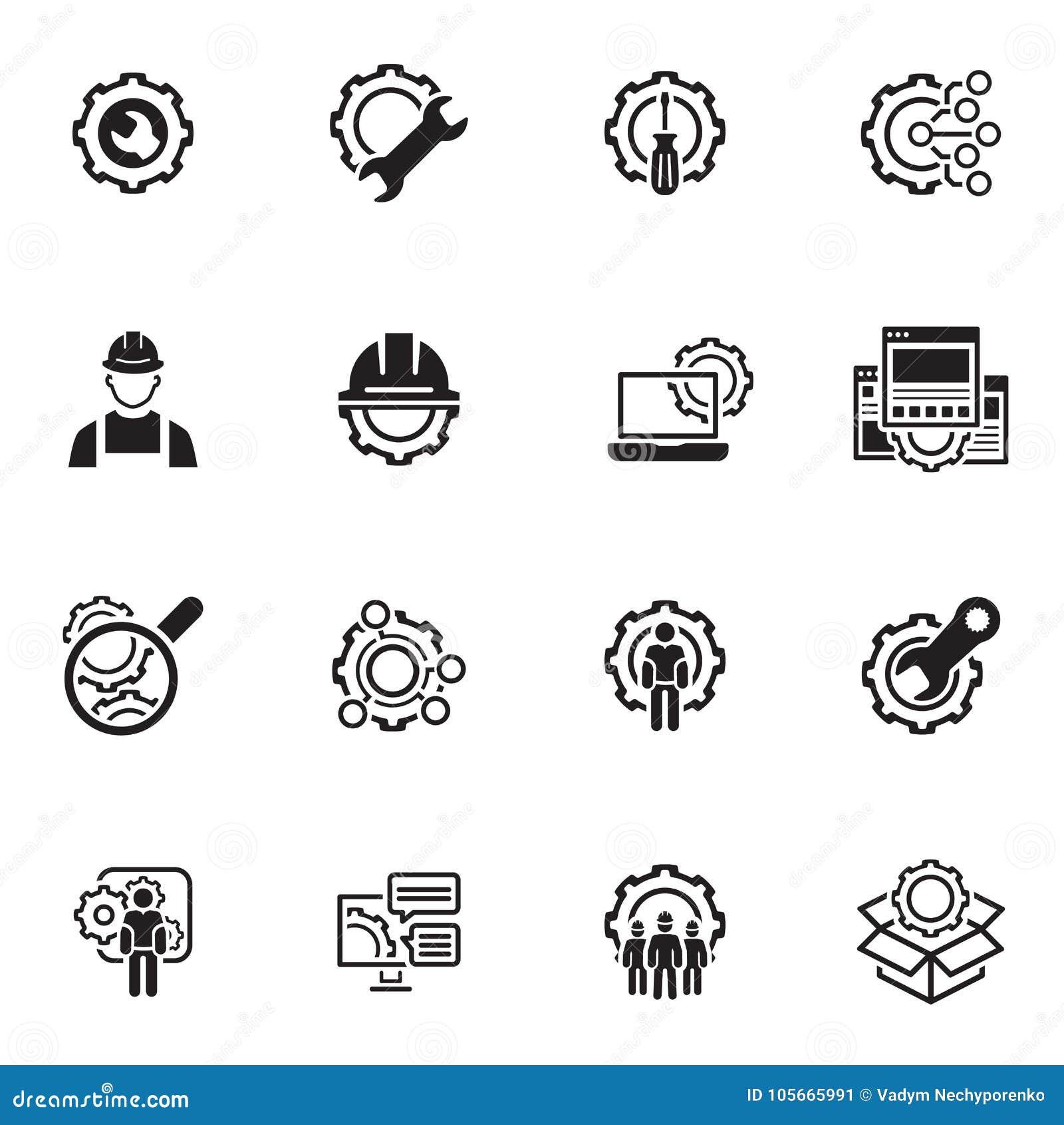 Line Engineering Icons Stock Vector Illustration Of Engineering