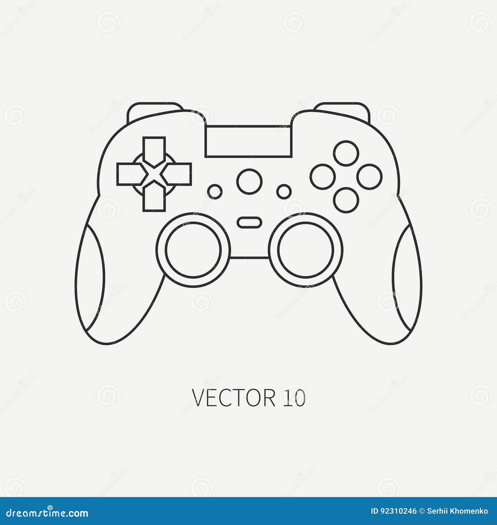 Line Flat Vector Computer Part Icon Joystick  Cartoon Style