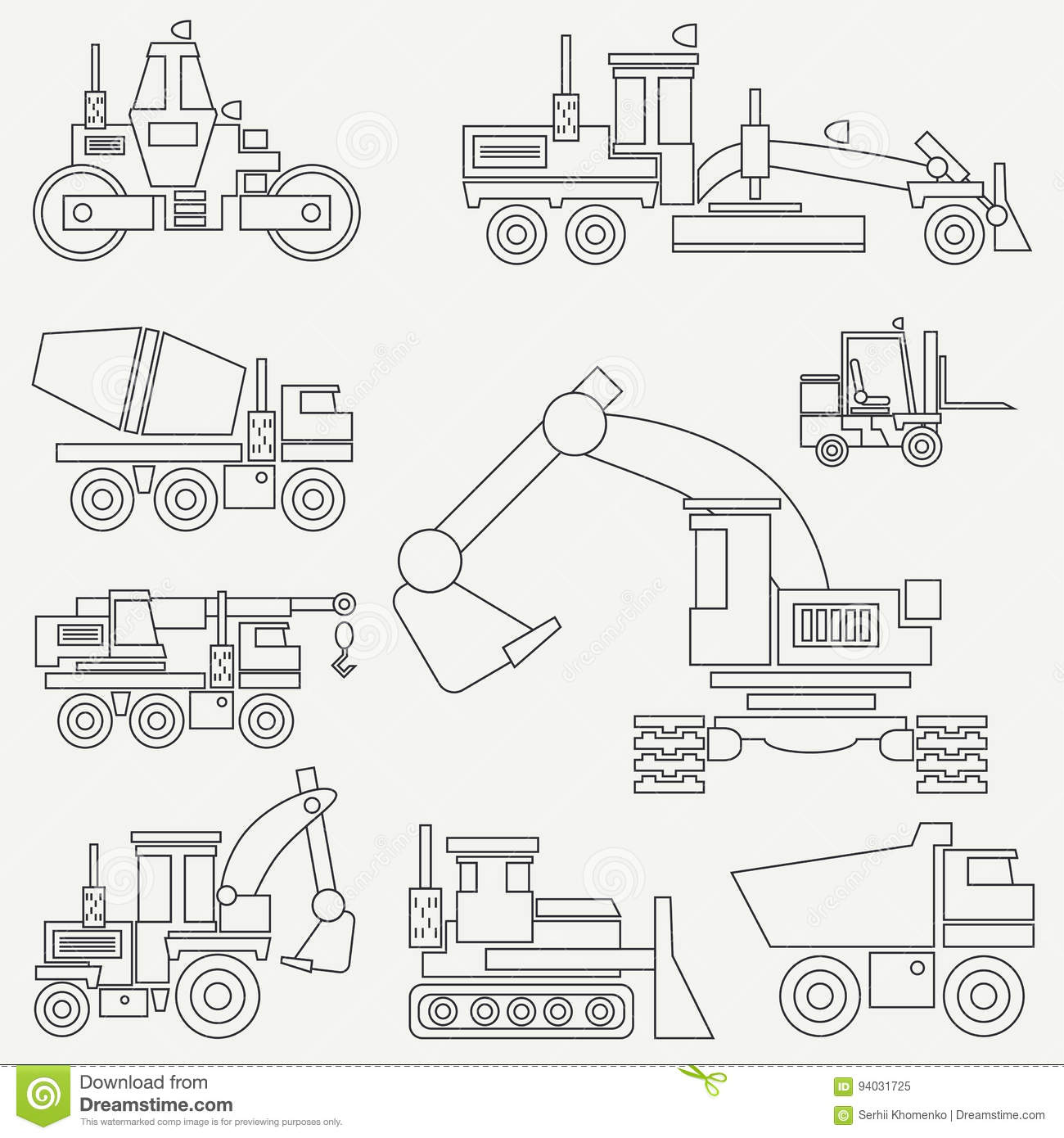 Line flat vector icon construction machinery set with bulldozer, crane, truck, excavator, forklift, cement mixer