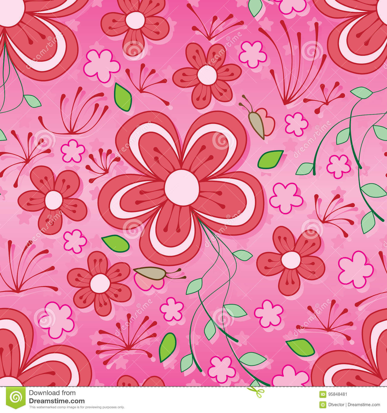 Line Flower Butterfly Seamless Pattern Stock Vector