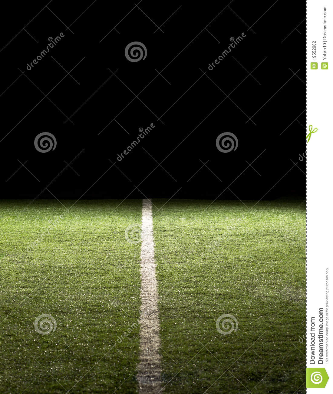 Football Stadium Night Lights: Line On A Football Field At Night Stock Photography