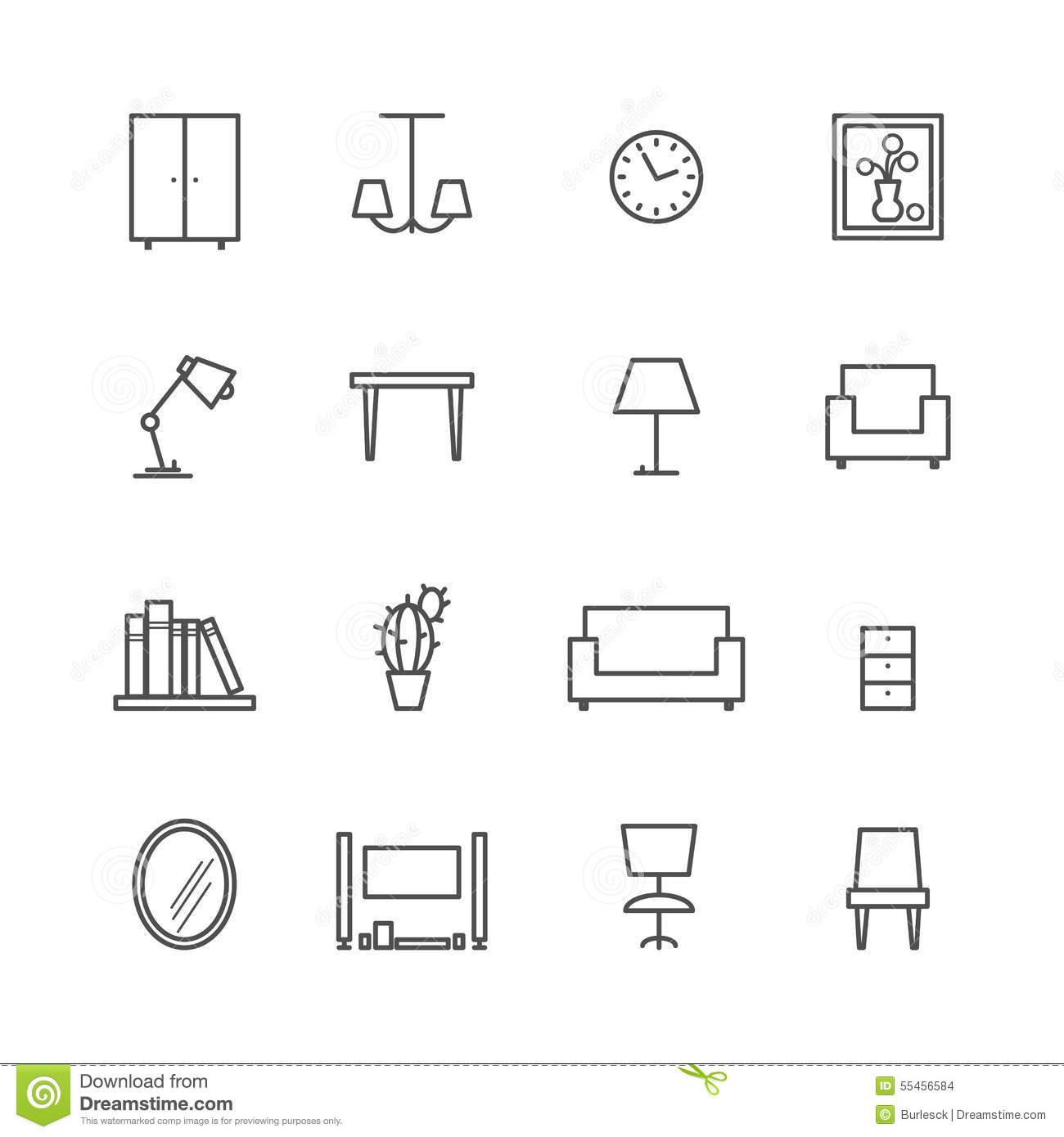 Line Furniture Icons Stock Vector Image 55456584