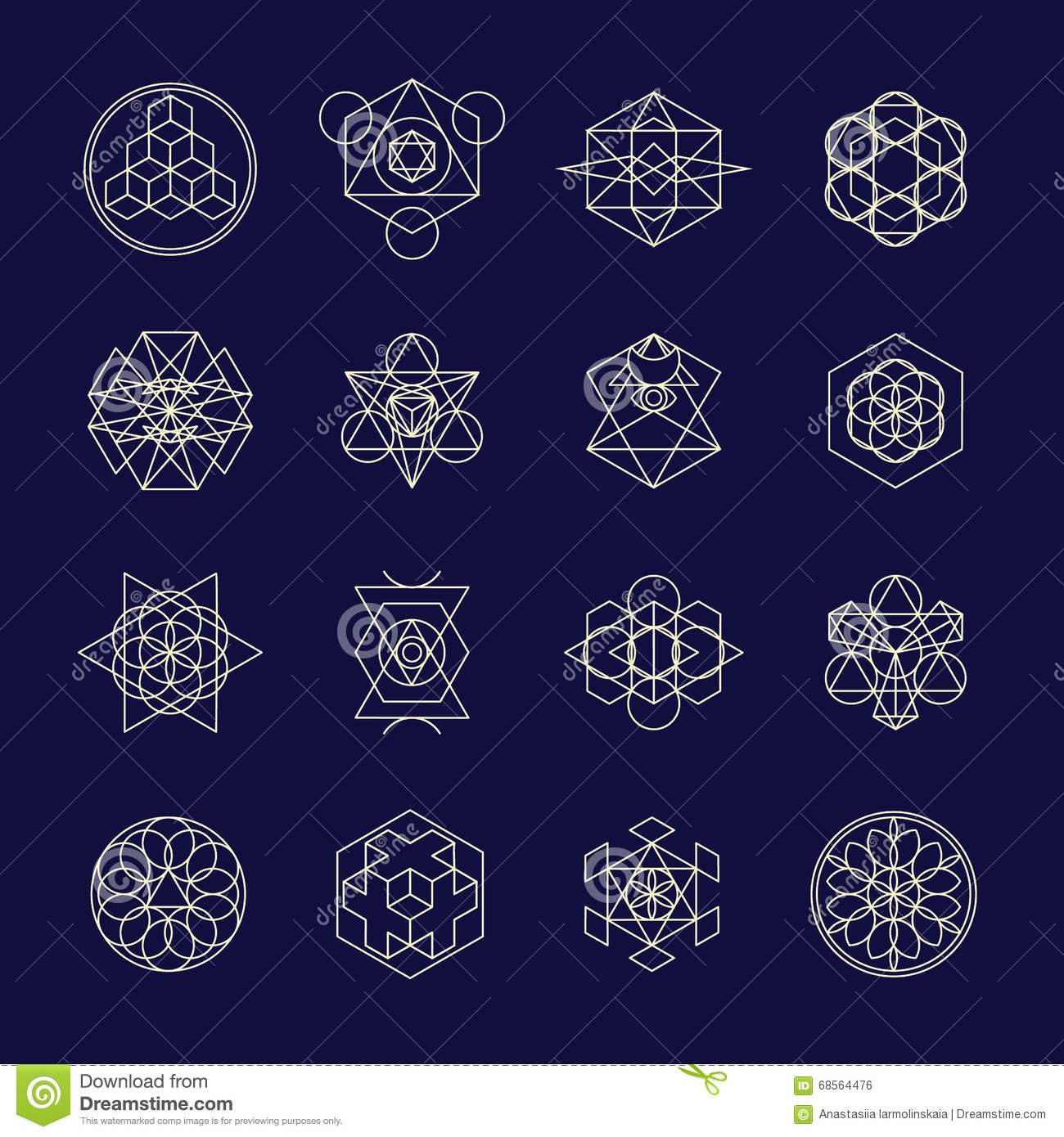 Line Geometric Design Symbols And Elements Stock Vector