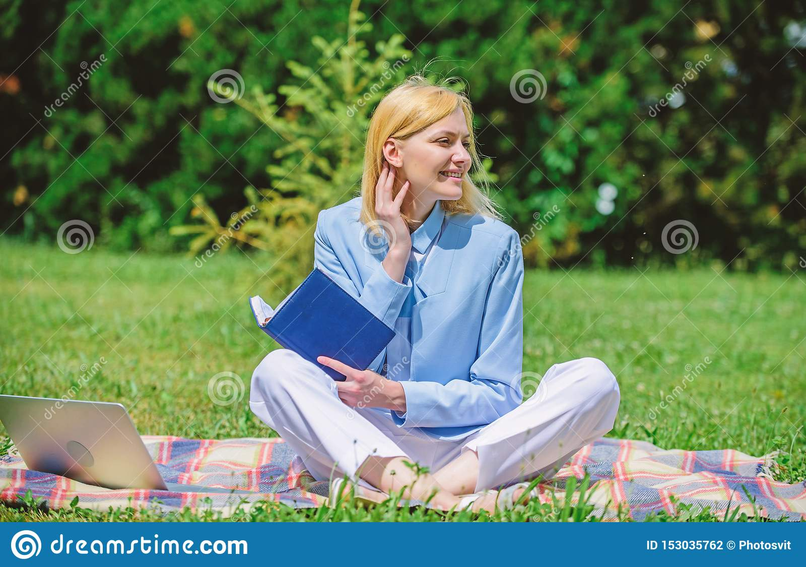 On-line-Gesch?ftsideenkonzept Frau mit Laptop oder Notizbuch sitzen auf Wolldeckengr?ngraswiese Gesch?ftspicknickkonzept