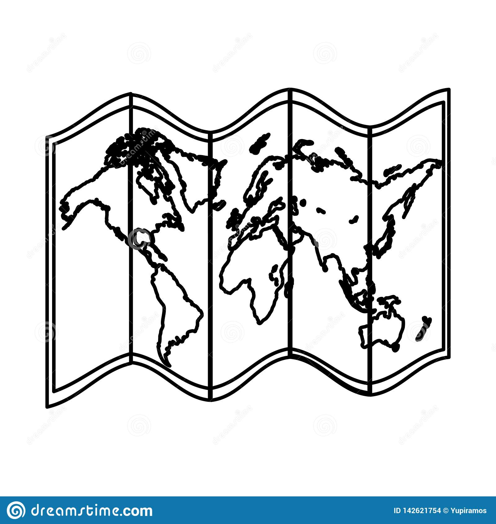 Line global geography map object information
