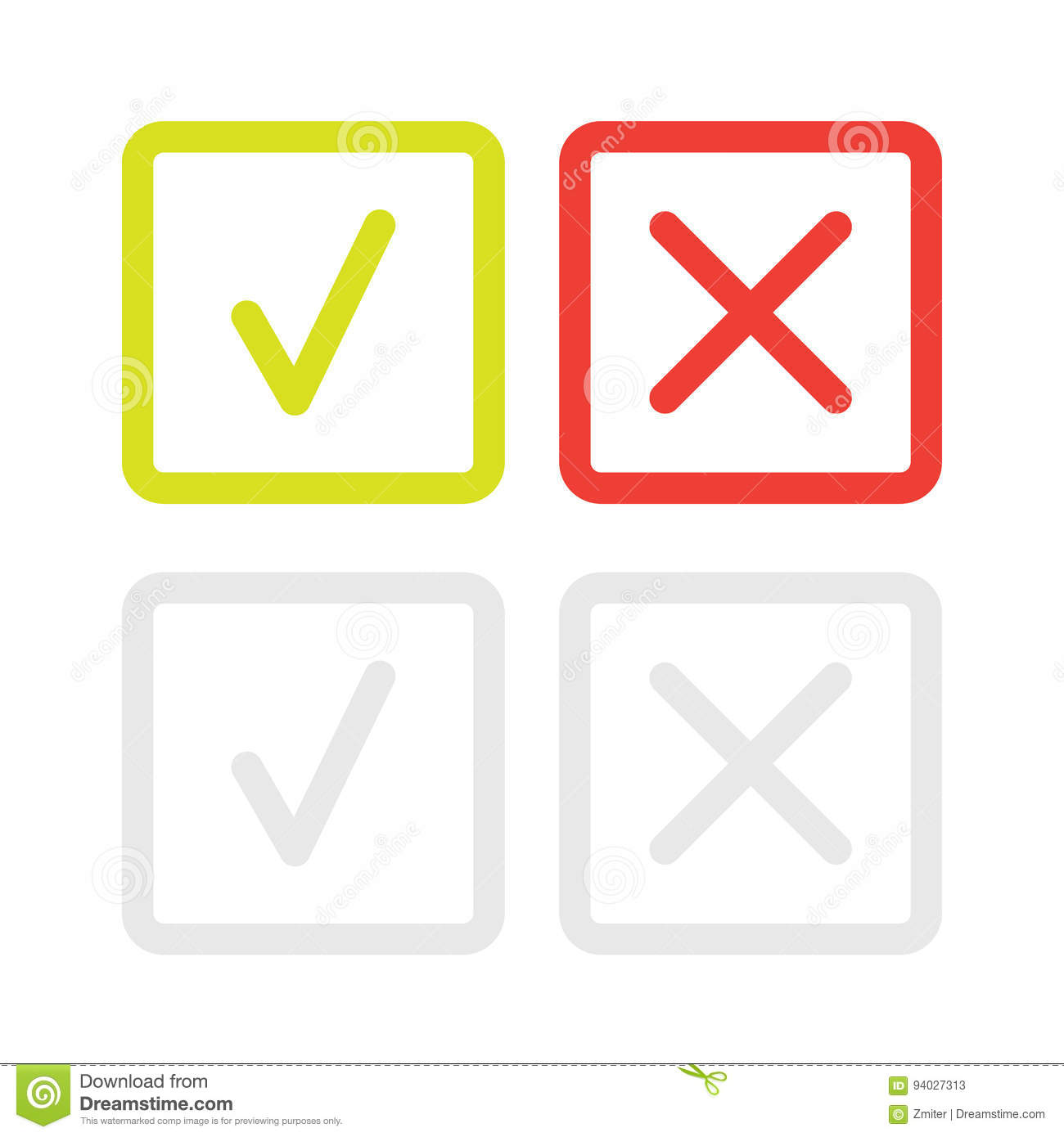 Line green check mark or check box icons set stock vector line green check mark or check box icons set approved option biocorpaavc Gallery