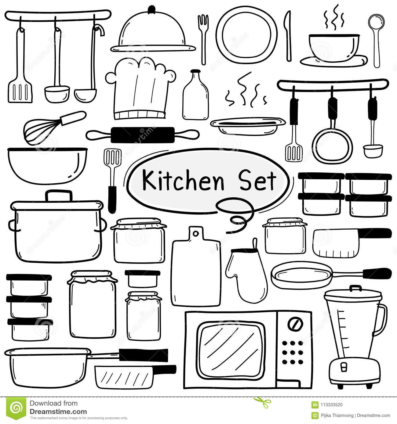 Line Hand Drawn Doodle Vector Kitchen Set Include Cooking Equipment