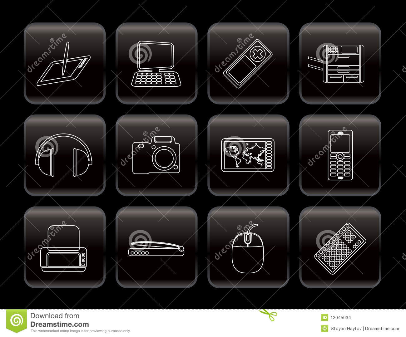 Line hi tech technical equipment icons icon set 3