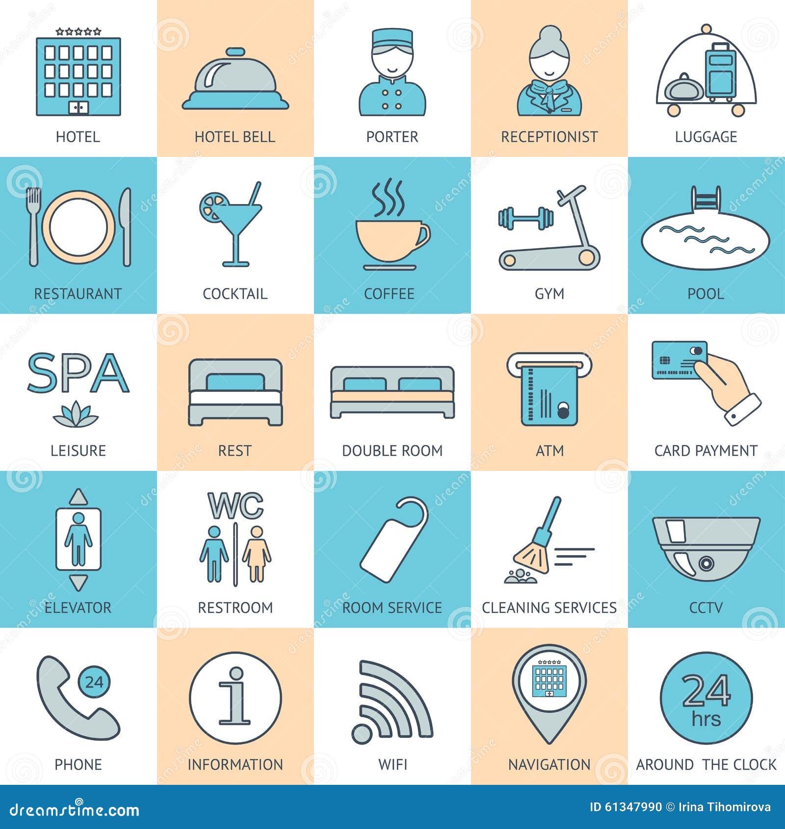 25 Line Hotel Services Icons Color Block Logo Glyphs