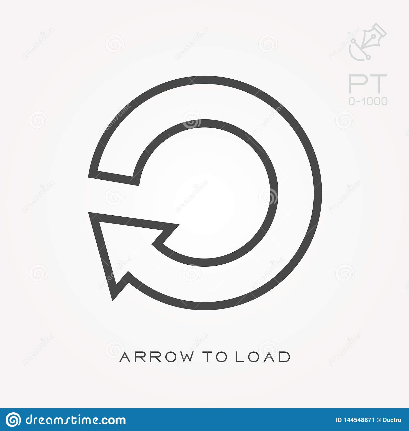 Line icon arrow to load