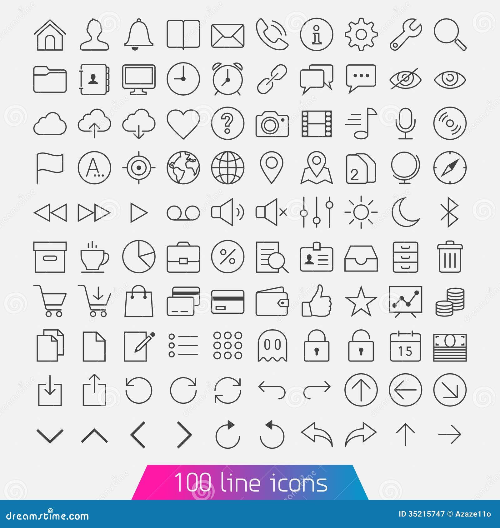 100 line icon set