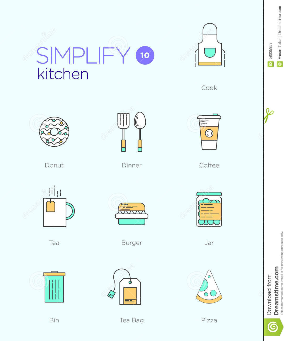 Line Icons With Flat Design Elements Of Kitchen Stock Vector Image 58035953