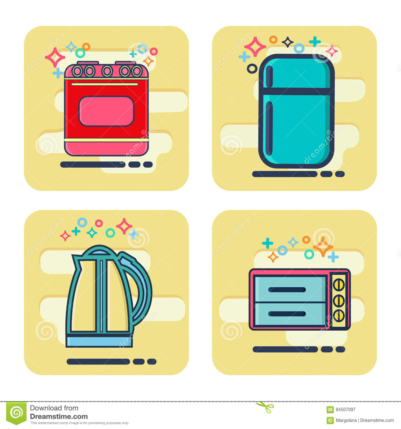 Kitchen electronics flat design icons set vector for Household appliances design