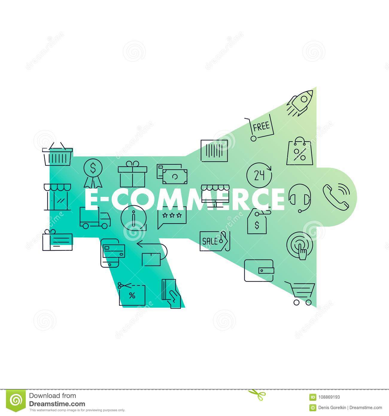 Line Icons In Shape. E-commerce Stock Vector - Illustration of coin ...