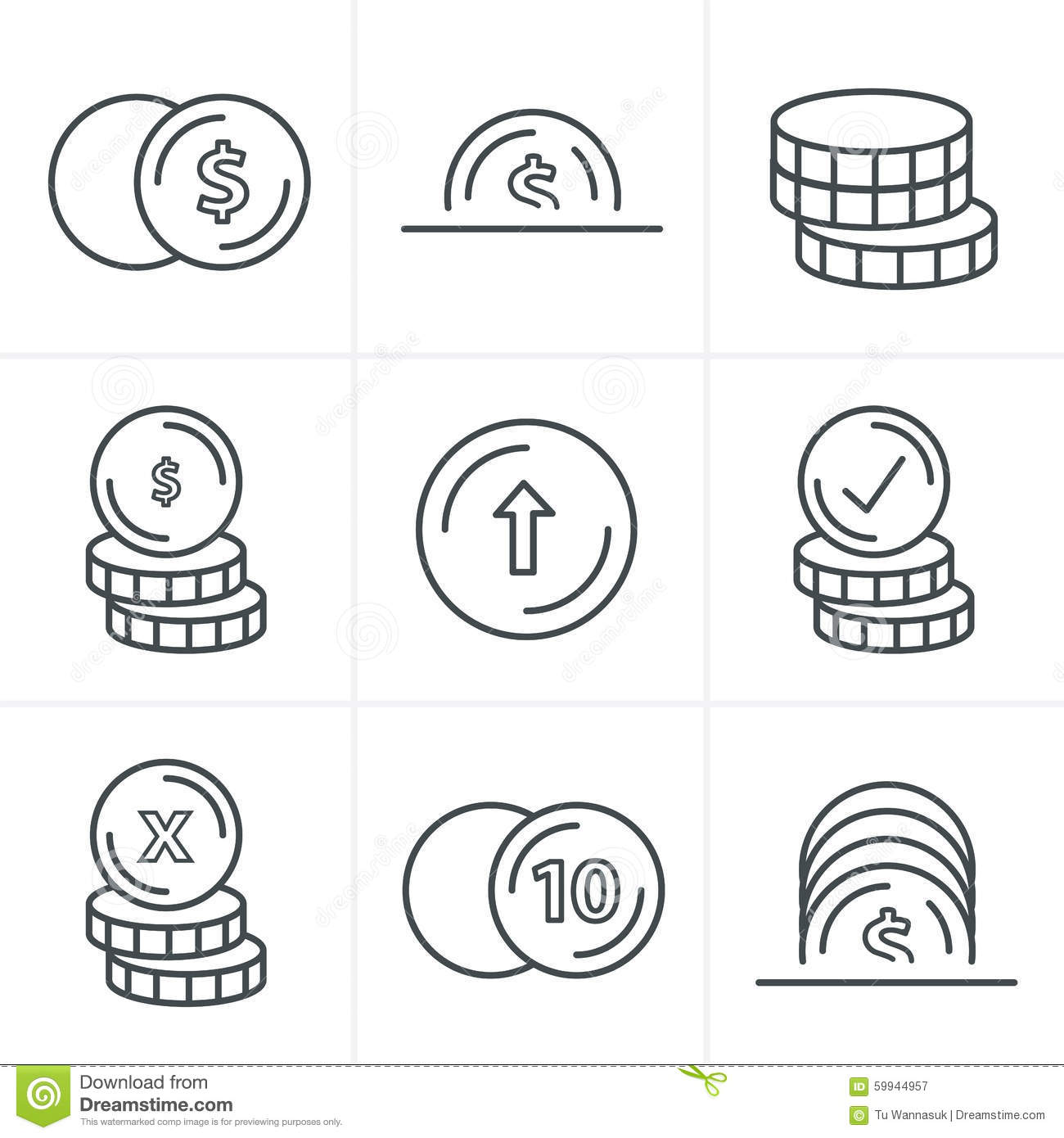 Line icons style coins icons set stock vector illustration of line icons style coins icons set ccuart Gallery